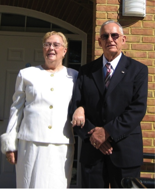 Image: Gloria Hickey (Harry's wife) and Harry on the steps of their church in southern Maryland.