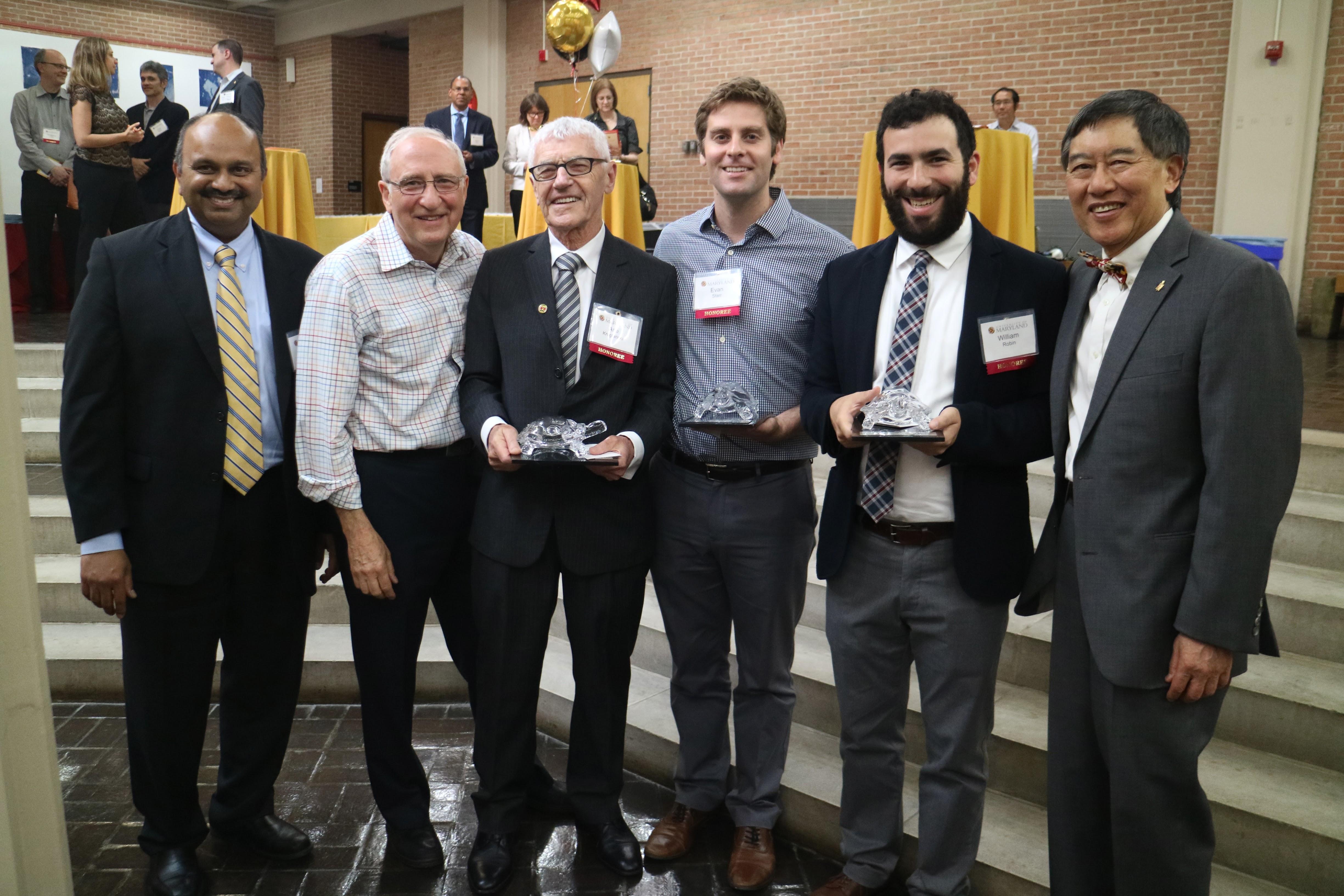 L-R: Interim Vice President for Research Amitabh Varshney, Ben Shneiderman, Arie Kruglanski, Evan Starr, William Robin, and President Wallace Loh.