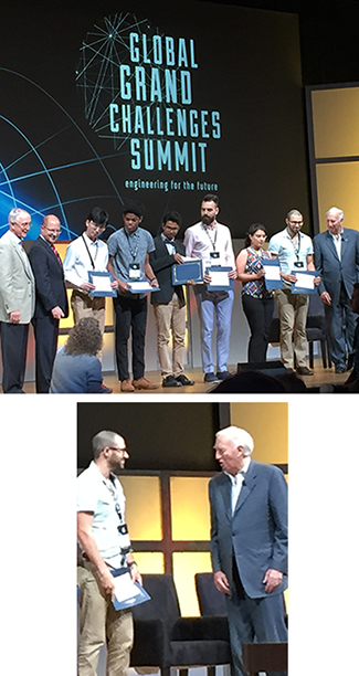 Above: George Banis, second from right, receives his best poster award. Below: George talks with NAE President (and former University of Maryland President) Dan Mote.