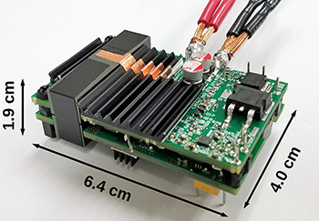 The high-efficiency, high-density isolated DC-DC converter built by Khaligh's team for the competition.