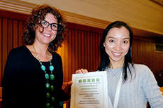 CEE alumna Clara M. Cheung accepts award.