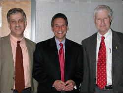 At the reception (l-r) ISR Director Eyad Abed, Professor of the Practice Marvin Sambur, University of Maryland Provost Bill Destler.