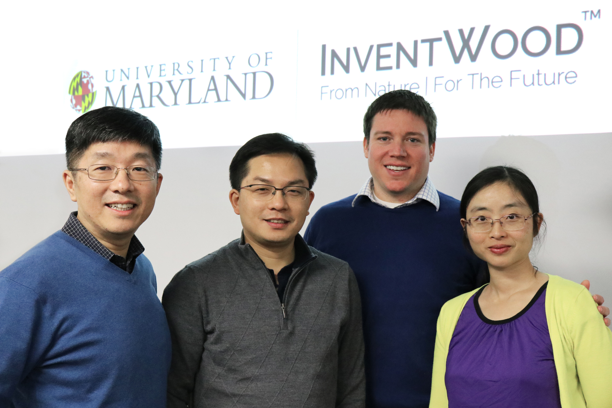 Left to right: Dr. Teng Li (Co-PI, UMD), Dr. Liangbing Hu (PI, UMD), Josh Cable (Inventwood LLC) and Amy Gong (Inventwood LLC)