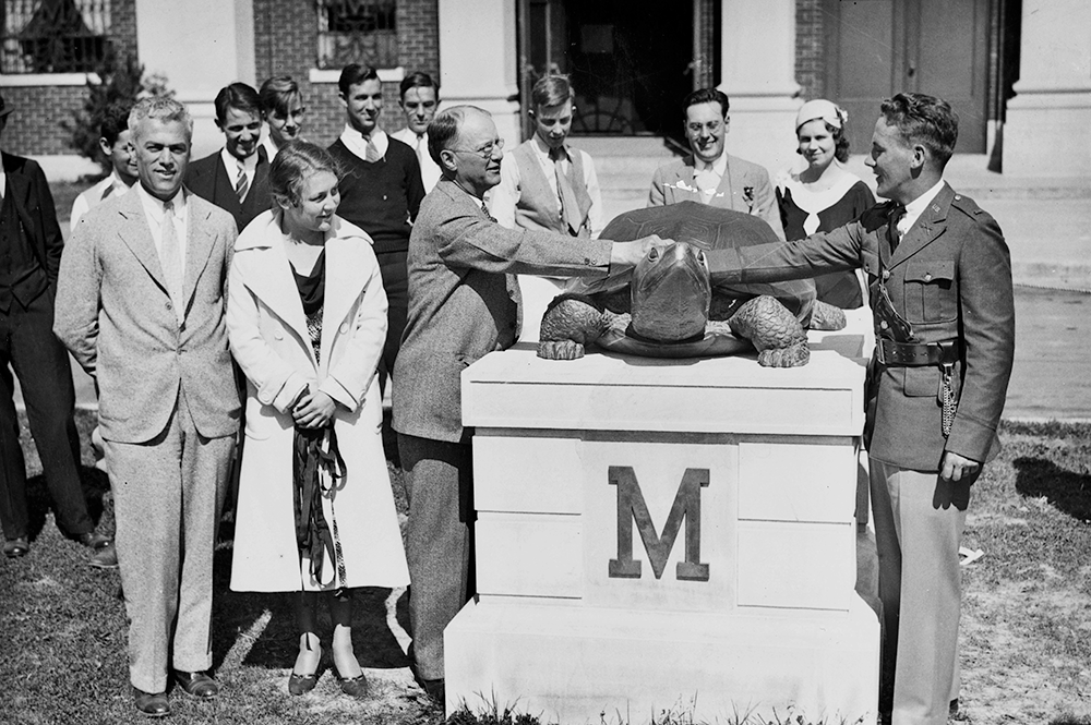 Testudo statue dedication ceremony, 1933. Photo courtesy: UMD Special Collections and University Archives