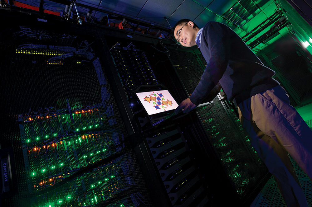 Assistant Professor Yifei Mo works in Deepthought2, UMD's high-performance computing cluster. Photo: John T. Consoli