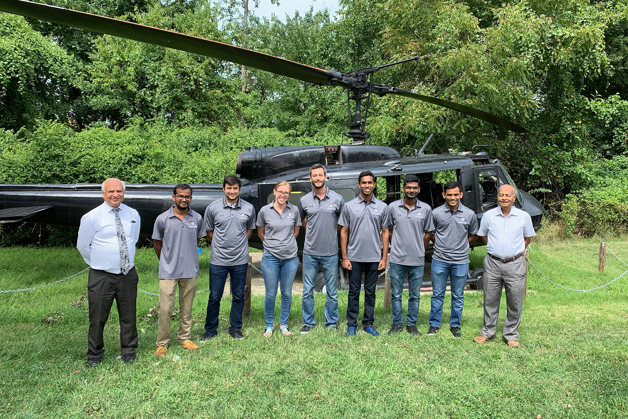 This year's graduate rotorcraft design team (from left to right: Dr. Inderjit Chopra, Abhishek Shastry, Ravi Lumba, Amy Morin, Seyhan Gul, Mrinalgouda Patil, Shashank Maurya, Nishant Nemani, and Dr. Vengalattore Nagaraj)