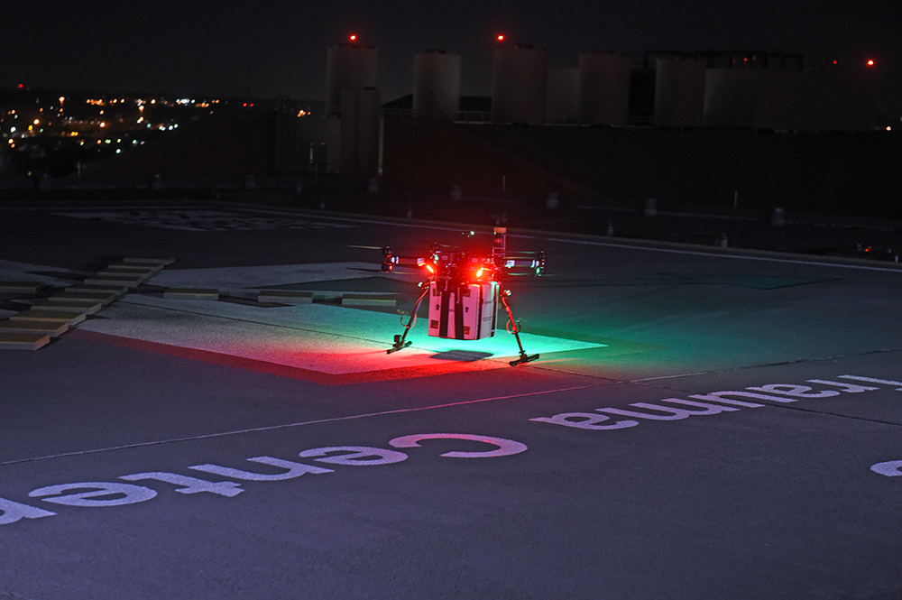 A UAV lands to successfully deliver a donor kidney to surgeons at the University of Maryland Medical Center in Baltimore for successful transplantation into a patient with kidney failure.