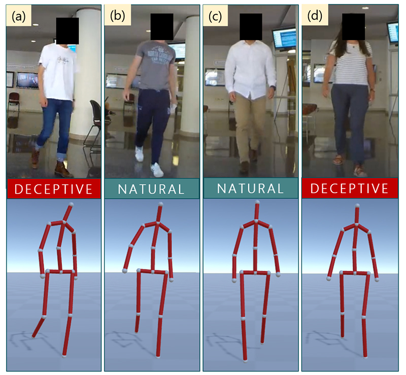 Who's being deceptive? In (a) smaller hand movements and in (d) the velocity of hand and foot joints provide deception cues.