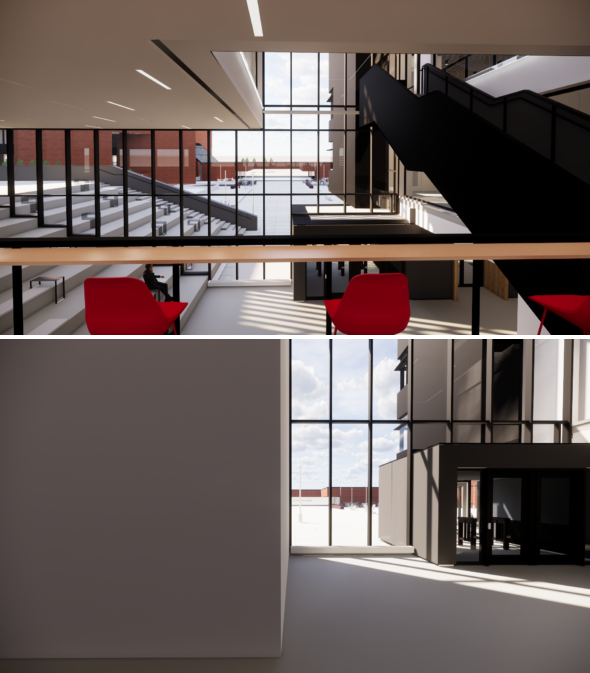 A space designed with green (top) vs. conventional (bottom) features.