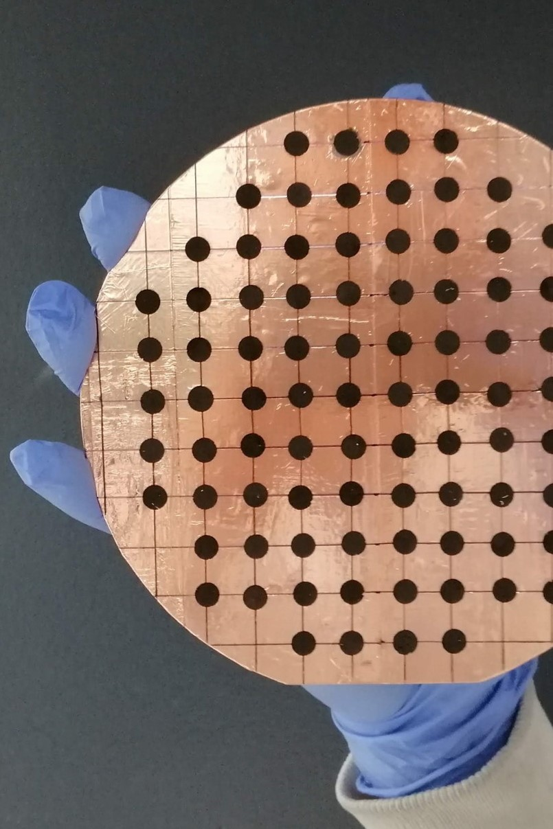 The nanoparticles located on this wafer are ready for testing for clean energy applications.