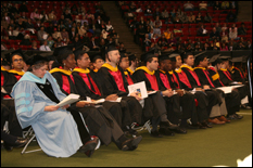 Graduates at the Fall 2006 commencement ceremony (Photo by Bryan Quinn).