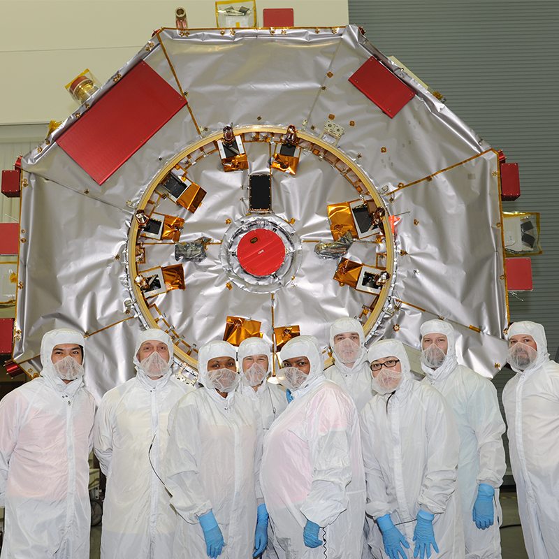 Vertex Aerospace thermal engineers with the Magnetospheric Multiscale Observatory and it's blanket technicians.