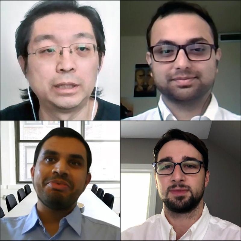 Clockwise fron top left: Professor Gang Qu, Ph.D. student Abhishek Chakraborty, Ph.D. student Michael D'Antonio, Ph.D. student Akshay Singh.