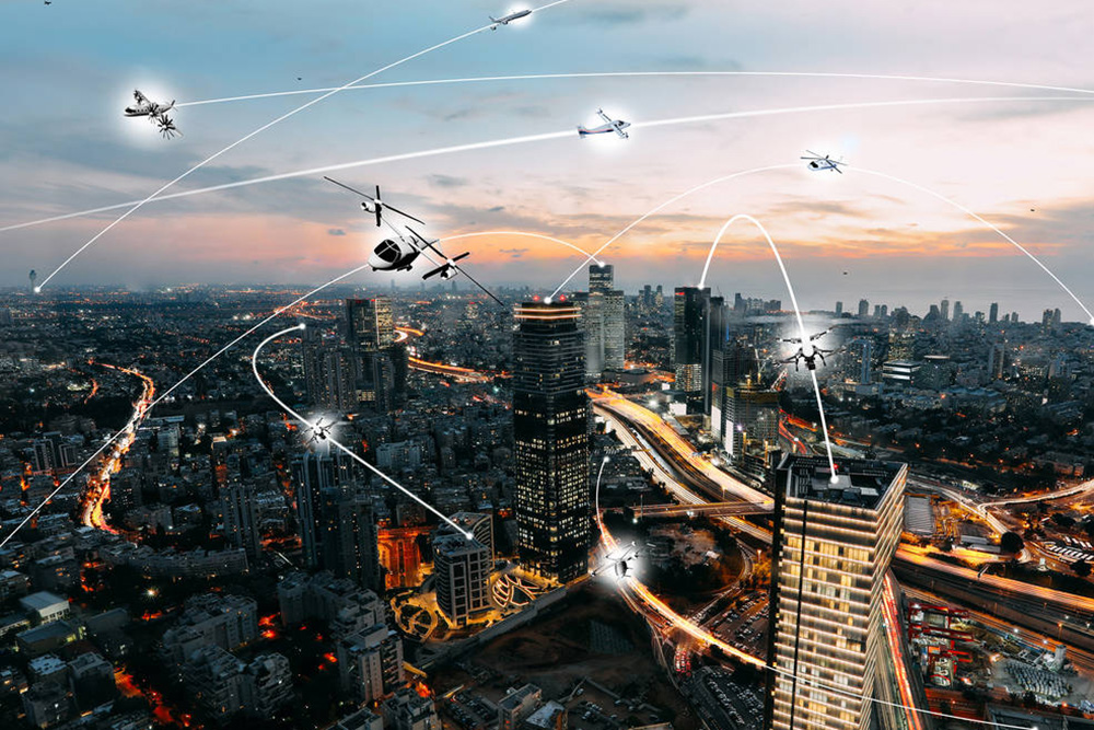 An artist's conception of an urban air mobility environment, where air vehicles with a variety of missions and with or without pilots, are able to interact safely and efficiently. Photo Credit: NASA/Lillian Gipson.