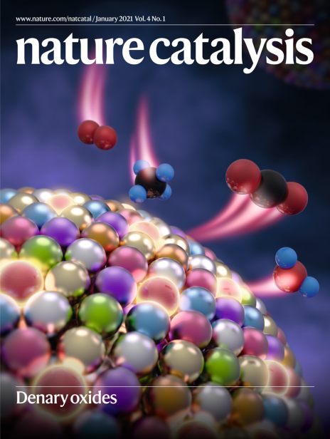 Mixing rules of multi-element oxide nanoparticles and denary oxide nanoparticles as highly stable catalysts for methane combustion. Cover of Nature Catalysis, January 2021.