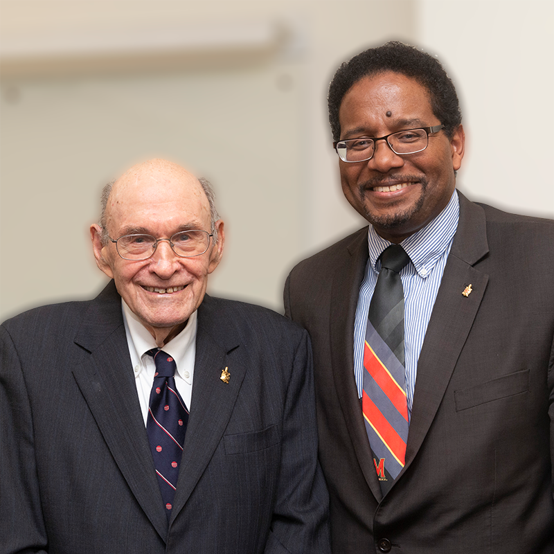 George Dieter with Darryll Pines, UMD President and immediate past Clark School Dean. Photo: Lisa Helfert
