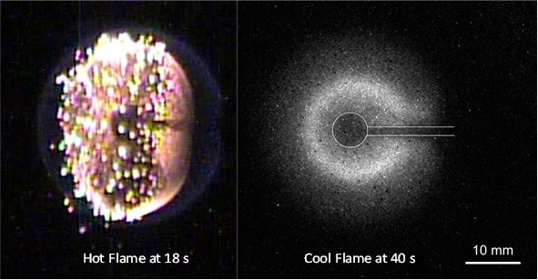 Image: Hot flames (left) give way to cool flames (right).