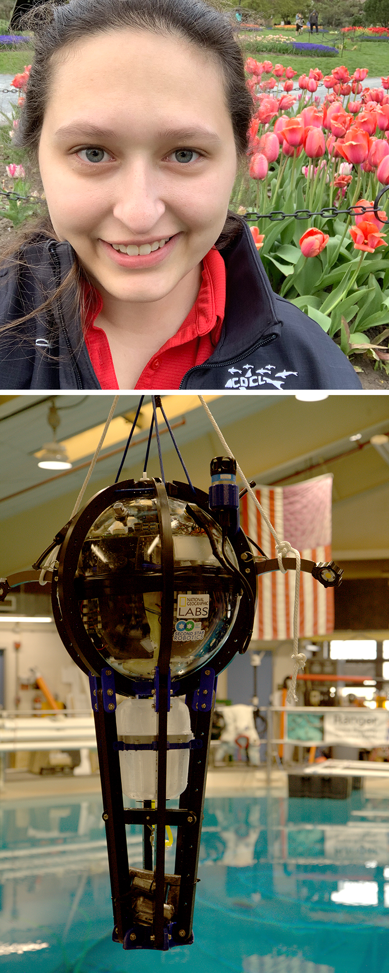 Top: Rachel Suitor. Image courtesy Rachel Suitor. Bottom: Driftcam prototype being tested in the Neutral Buoyancy Research Facility. Driftcam developed by National Geographic Society configured with high-resolution low-light cameras to capture detailed imagery of Scattering Layer constituent species. Image courtesy of Kyler Abernathy, National Geographic Society.