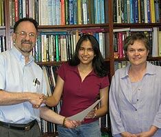 ECE Chair Steve Marcus with Divya Jhalani and ECE Undergraduate Studies Director Judith Bell