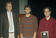 Professor Briber, Chair of the MSE with students at the 2007 A. James Clark School of Engineering Undergraduate Honors and Awards Ceremony. Shown (L to R): Professor Briber, Matthew Castille, winner of an Outstanding Engineering Co-op/Intern Award for his work as an intern at W.L. Gore and Michael Figueroa, winner of the MSE Outstanding Materials Student Service Award for his work as president of the MSE undergraduate student group, MatES. Not shown: Max Grace, winner of the MSE Chairman's Outstanding Senior Award for his work on outreach activities in the Department and his research on on titanium alloys.