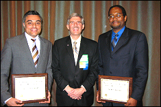 (left to right) Dr. Suneel Sheikh (CEO and chief research scientist of ASTER Labs, Inc), Mr. John Lavrakas (President, ION), and Dr. Darryll Pines (Professor and Chair of the Department of Aerospace Engineering)