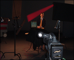 Herrmann on the Public Health Training Network's television set.