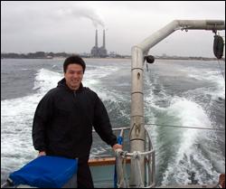 Fumin Zhang testing underwater mobile sensor networks.