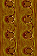 Wavy step patterns in a template.