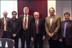 Left to right: Greg Payne (University of Maryland Biotechnology Institute), Anjan Nan (UMB School of Pharmacy),  William Bentley (Chair, Fischell Department of Bioengineering), Dr. Robert W. Deutsch, Reza Ghodssi (ECE, ISR), and Gary Rubloff (ECE, ISR, MSE and Director, Maryland NanoCenter).