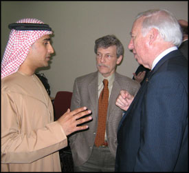 UAE national Mohammad Chooka (left), meets Department of Mechanical Engineering Chair Dr. Avram Bar-Cohen (center) and University of Maryland President Dr. C.D. Mote, Jr. (right) at the Petroleum Institute of Abu Dhabi in early January.  Chooka is a Ph.D. student advised by Professor of Mechanical Engineering Mohammad Modarres.