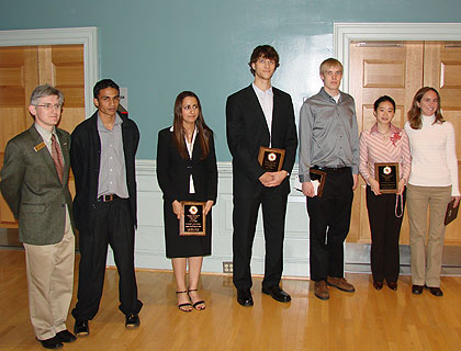 ECE student award recipients with Department Chair Dr. Patrick O'Shea (far left), from left to right: Dilshan Godaliyadda, Rose Faghih, Kyle Weber, Christopher Waclawski, Ermin Wei, and Christine McKay.