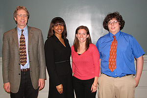 Left to right: MSE Professor and Chair Robert M. Briber, Maeling Tapp, Christina Senagore, and Colin Heikes.