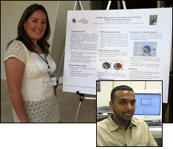 Maria del Pilar Leon with a poster of her recent research at ISR's 2008 Systems Symposium. Inset: Thomas Palathra.