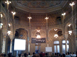 Ephremides lectures in the palatial Arab Room of the Palacio da Bolsa.