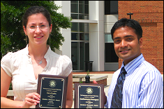 Inna Kurits(MS) and Anand Veeragavan(PhD) are the 2008 Graduate Student Research Award recipients
