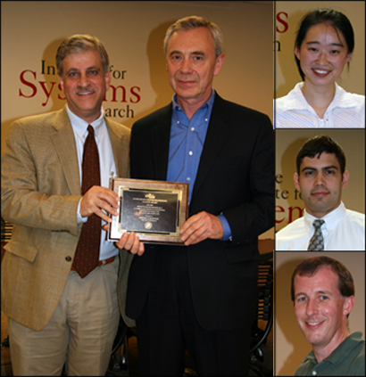 Large photo: ISR Director Eyad Abed presents the outstanding faculty award to Mikhail Vorontsov. Small photos, top to bottom: Ermin Wei (undergraduate student), Stephan Koev (graduate student), Jeff McKinney (staff).