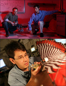 Above: Aerospace Engineering Assistant Professor Sean Humbert and his Ph.D. student Joe Conroy with a micro air vehicle. Below: Associate Professor Timothy Horiuchi holds a bat-inspired navigation sensor. Horiuchi has a joint appointment in Electrical and Computer Engineering and the Institute for Systems Research.
