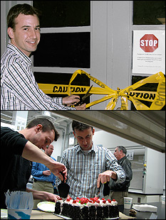 Above: Professor Oded Rabin hosts a ribbon cutting ceremony for the opening of the lab. Below: The lab's first, crucial experiment involved the deposition of biocompatible carbohydrates, fats and proteins on paper substrates to form a composite macromolecular structure with layers of varying characteristics. The subsequent complete dispersion of the material from the substrates suggests its efficacy for gastronomic applications. Further research is required to know for sure.