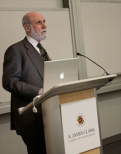 Dr. Vint Cerf at the Booz Allen Hamilton Colloquium in ECE on April 17. Photo by Jess Molina.