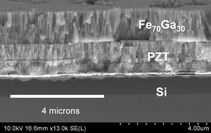Cross sectional micrograph of the multiferroic device. It consists of a magnetic material called FeGa and a piezoelectric material called PZT.