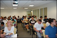 New mechanical engineering M.S. & Ph.D. students attend department orientation.