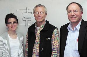 Left to right: Dr. Evelina Vogli, Professor James F. Drake, and Professor Gottlieb Oehrlein.