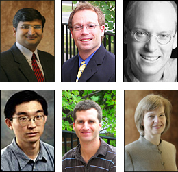 Six new ISR affiliated faculty. Clockwise from top left: Jaydev Desai, Sean Humbert, Bruce Jacob, Elisabeth Smela, Derek Paley, Gang Qu.