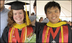 ECE seniors Liz Kenyon and George Luo were honored with awards. Photos by Jess Molina.