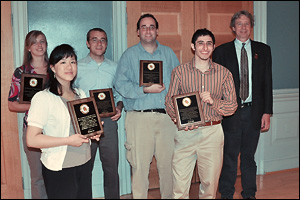 Left to Right: Ashley Lidie, Christine Lau, Michael Grapes, Stephen Kitt, Karam Hijji, and MSE Professor and Chair Robert M. Briber.