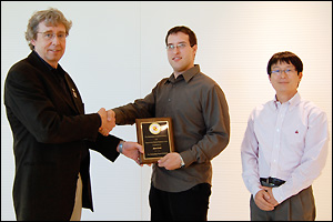Left to Right: MSE Professor and Chair Robert M. Briber, Adam Karcz, and MSE Assistant Professor Joonil Seog.