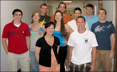 The MSE Class of 2010. Back row, left to right: Marshall Schroeder, Stephan Kitt, Alex Kao, and Paul Lambert. Middle row, left to right: Karam Hijji, Ashley Lidie, Abigail Boyle, and Mike Grapes. Front row, left to right: Christine Lau and Steven Crist.