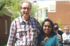 Prof. Andre Tits and Aparna Kotha celebrate the department's diversity at the 4th Annual ECE International Day held on April 14, 2010.