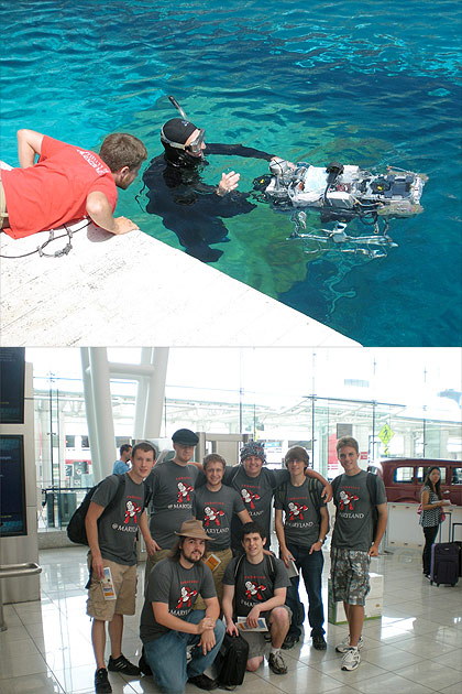 (Top) Robotics@Maryland President Paul Goldin describes to the diver how the team wants their robot, Tortuga, angled through the starting gate as the team prepares for an autonomous run.  (Bottom) The Robotics@Maryland team poses at Baltimore-Washington Airport. Photos courtesy of Robotics@Maryland.