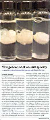 Above: Examples of clots formed in blood plasma in the presence of the polymer hydrogel. Below: Casey was interviewed for a story about the gel in the September issue of ScienceNews.